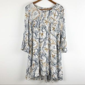 Hinge Boho Ruffled Bell Sleeve Babydoll Dress NWT
